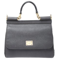 Dolce and Gabbana Dark Grey Leather Medium Miss Sicily Top Handle Bag