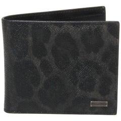 Dolce and Gabbana Dark Leopard Print Bi-Fold Wallet