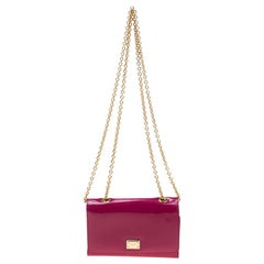 Dolce and Gabbana Dark Pink Patent Leather Wallet On Chain