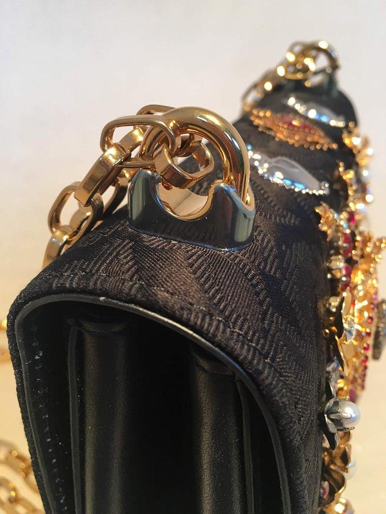 Dolce and Gabbana DG Girls Brocade Hearts Embellished Handbag For Sale 8
