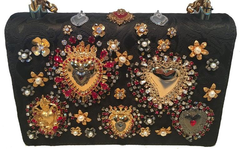 Black Dolce and Gabbana DG Girls Brocade Hearts Embellished Handbag For Sale