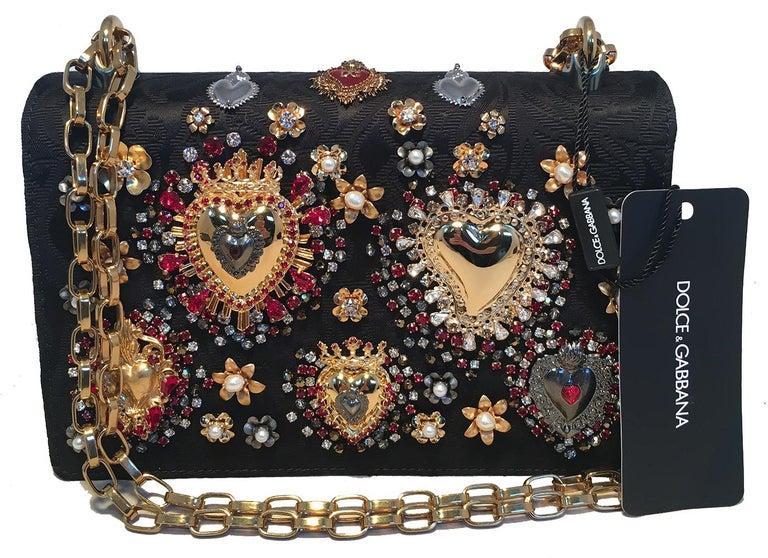 Dolce and Gabbana DG Girls Brocade Hearts Embellished Handbag For Sale 2