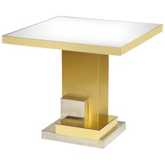 Dolce and Gabbana Dining Brass Chrome Table Chrome Mirror Top, Italy