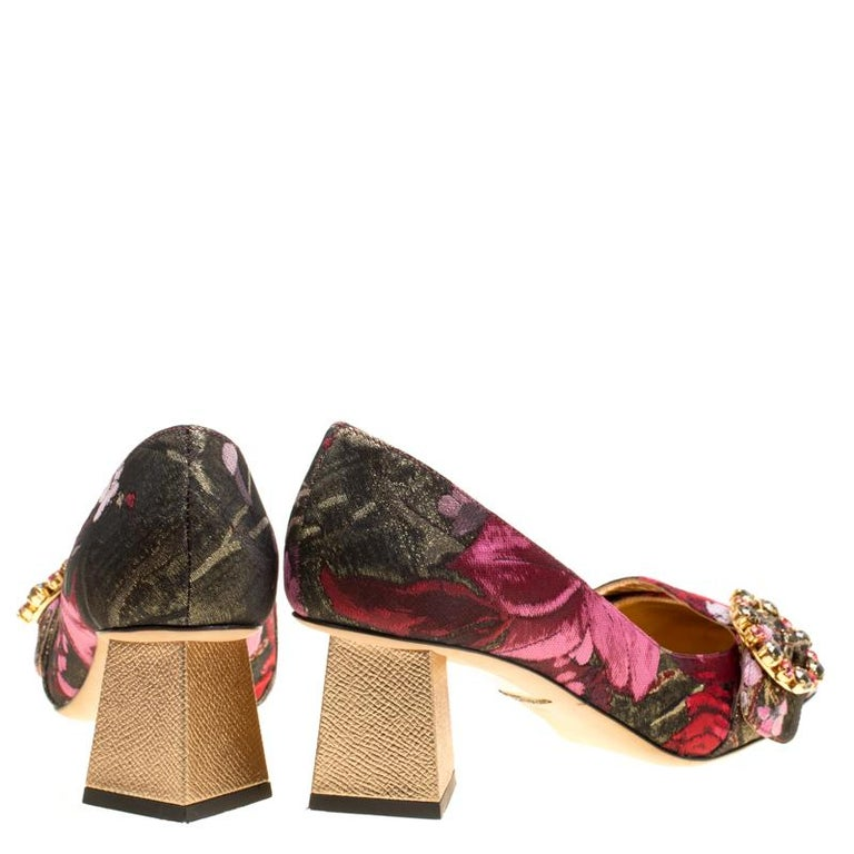 Brown Dolce and Gabbana Floral Jacquard Fabric Block Heel Pumps Size 37.5 For Sale