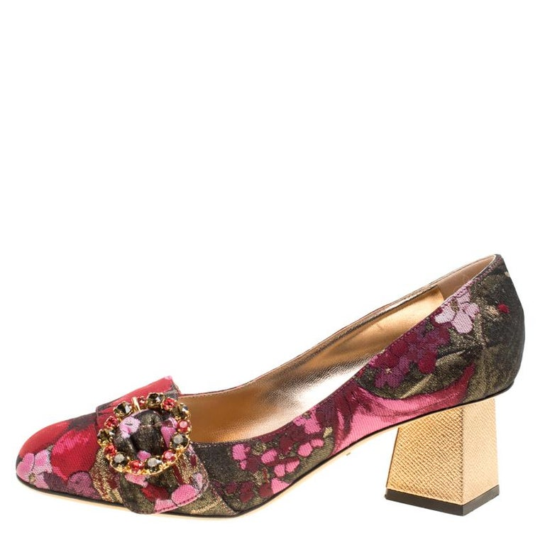 Women's Dolce and Gabbana Floral Jacquard Fabric Block Heel Pumps Size 37.5 For Sale