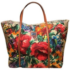 Dolce and Gabbana Floral Print Canvas Tote Weekend Bag
