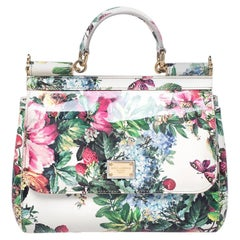 Dolce and Gabbana Floral Print Patent Leather Medium Miss Sicily Top Handle Bag