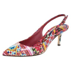 Dolce And Gabbana Floral Print Patent Leather Slingback Sandals Size 36.5