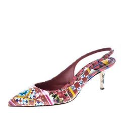 Dolce And Gabbana Floral Print Patent Leather Slingback Sandals Size 41