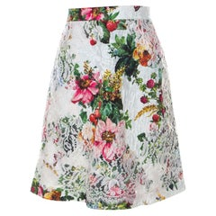 Dolce and Gabbana Floral Print Silk Blend Jacquard Applique Lace Detail Skirt S