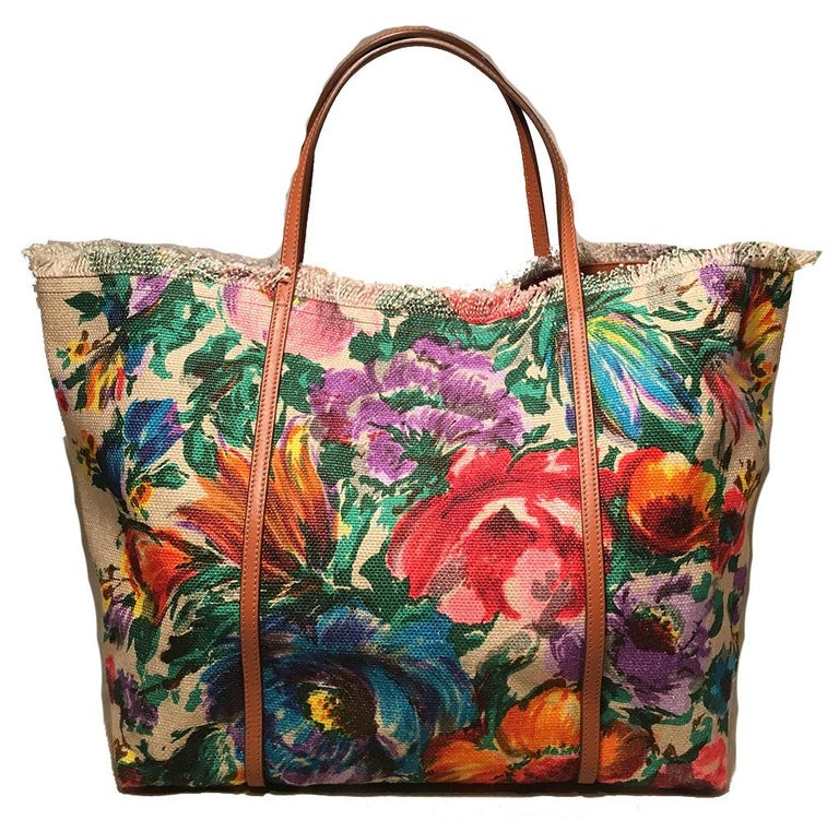 Brown Dolce and Gabbana Floral Print XL Canvas Tote Weekend Bag For Sale