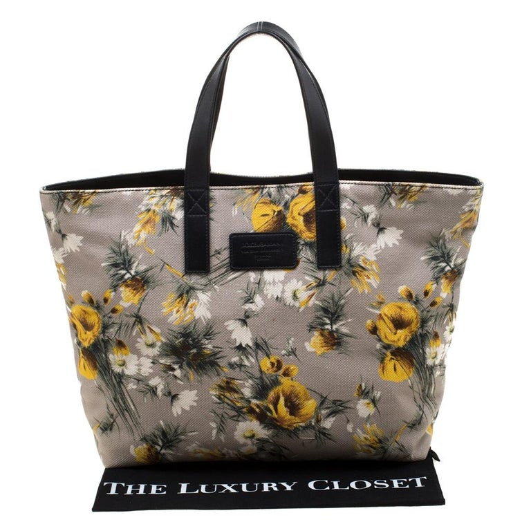 Dolce and Gabbana Floral Printed Canvas and Leather Tote For Sale 6