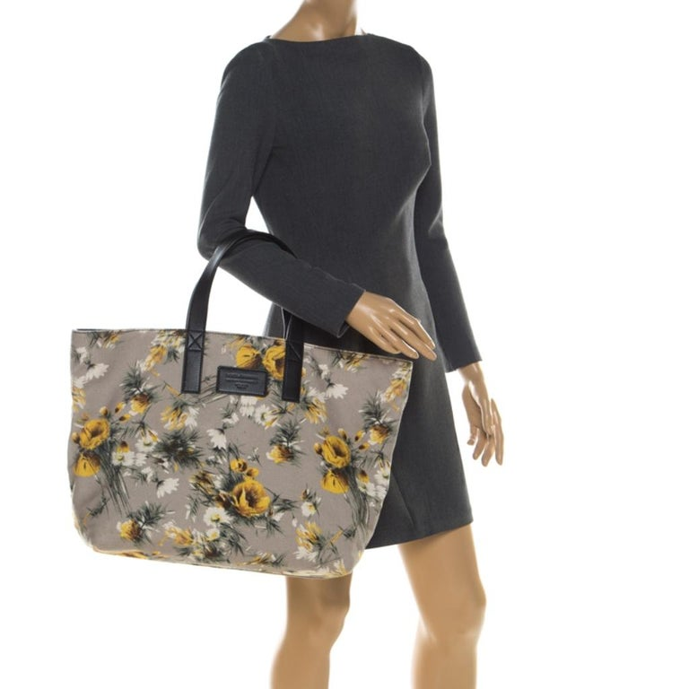 Brown Dolce and Gabbana Floral Printed Canvas and Leather Tote For Sale