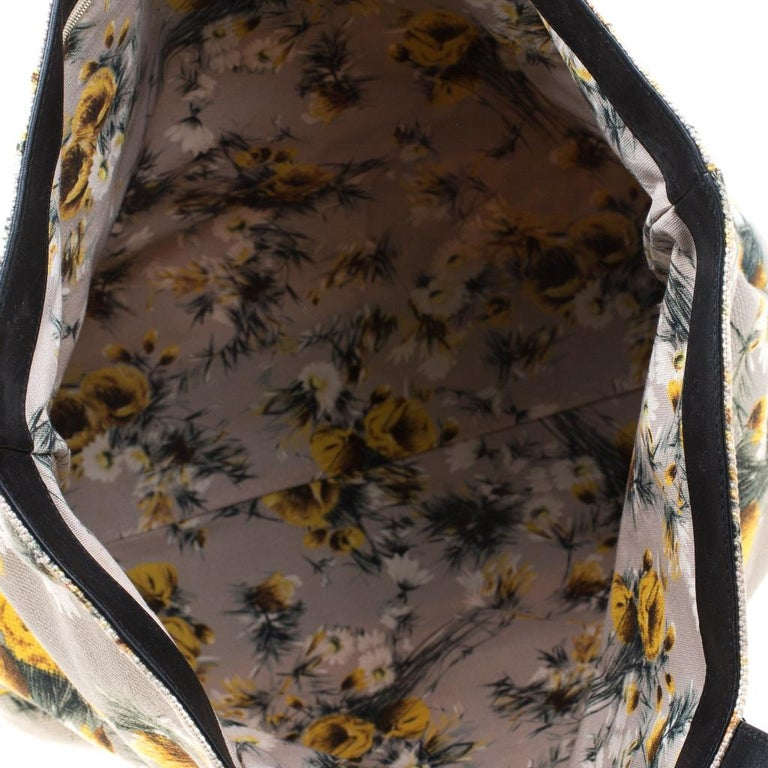 Dolce and Gabbana Floral Printed Canvas and Leather Tote For Sale 2