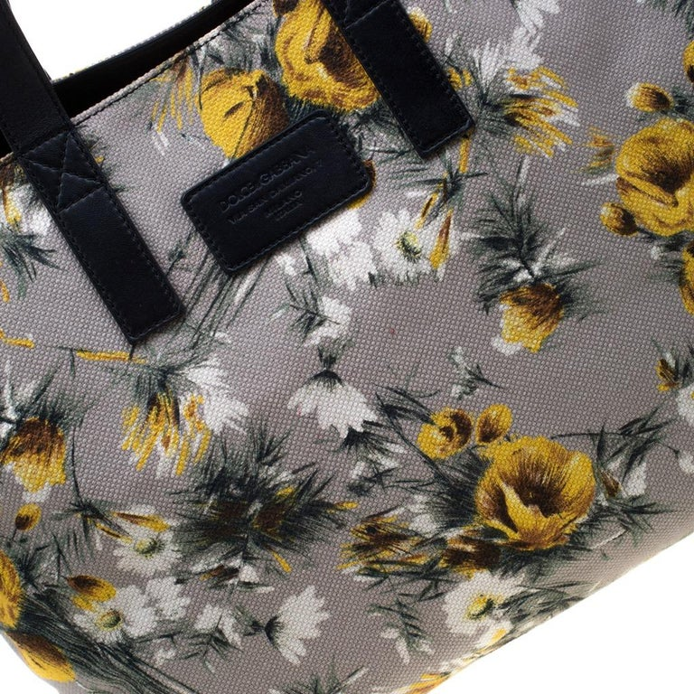 Dolce and Gabbana Floral Printed Canvas and Leather Tote For Sale 3