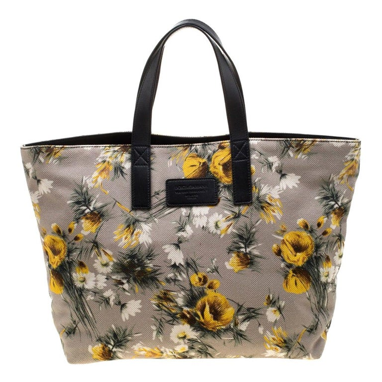 Dolce and Gabbana Floral Printed Canvas and Leather Tote For Sale