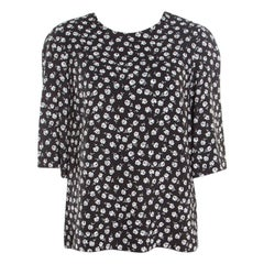 Dolce and Gabbana Flower Motif Printed Crepe Boxy Blouse S