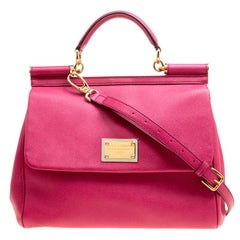 Dolce and Gabbana Fuchsia Pink Leather Large Miss Sicily Top Handle Bag