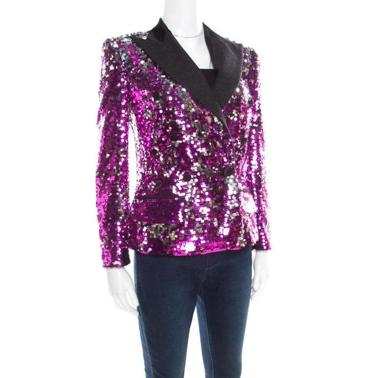 Dolce and Gabbana Fuscia Pink Sequin Paillette Embellished Velvet Trim Blazer M In Fair Condition For Sale In Dubai, Al Qouz 2