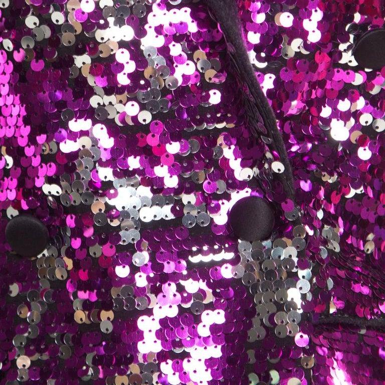 Women's Dolce and Gabbana Fuscia Pink Sequin Paillette Embellished Velvet Trim Blazer M For Sale