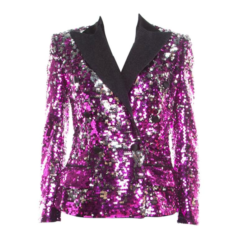 Dolce and Gabbana Fuscia Pink Sequin Paillette Embellished Velvet Trim Blazer M For Sale