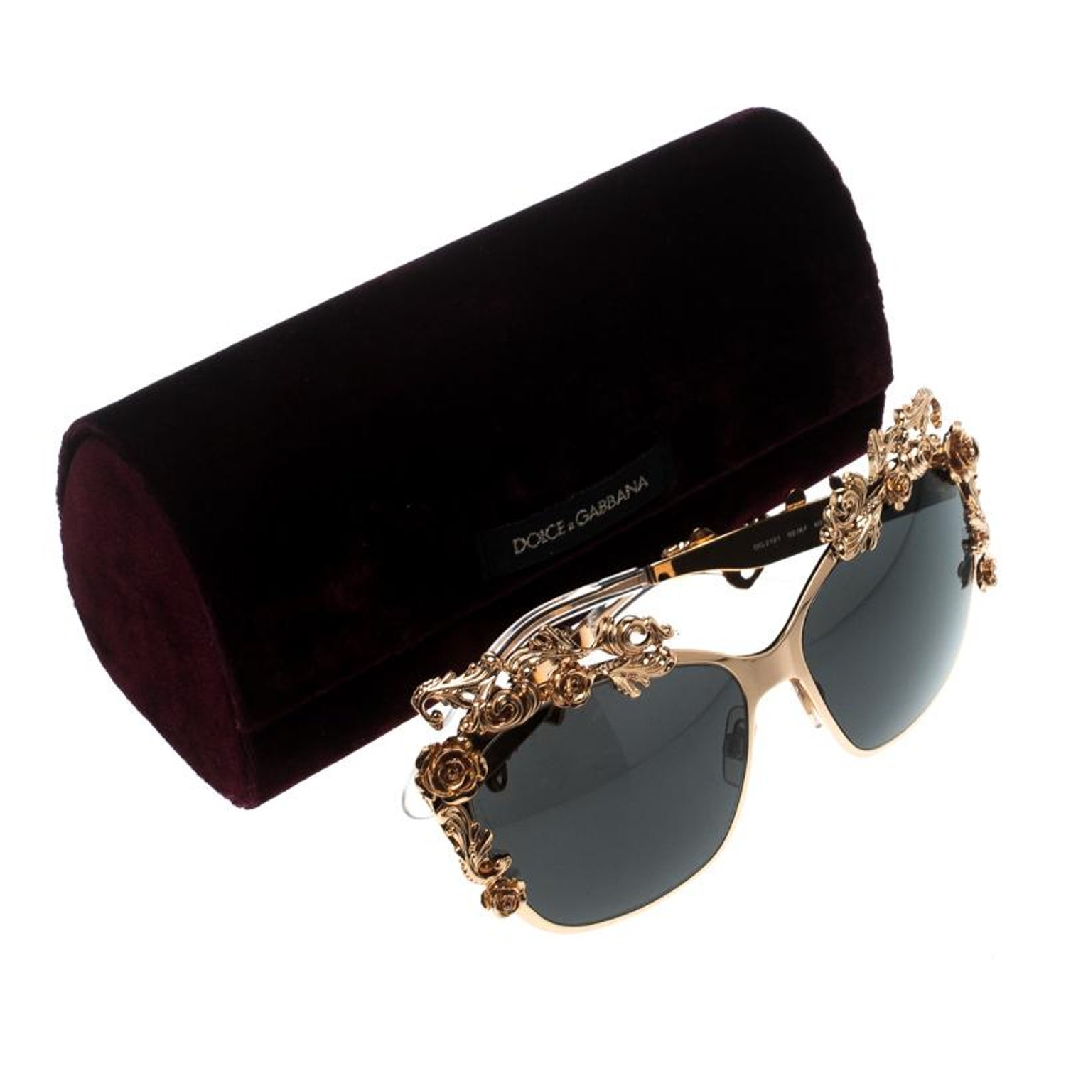 4617bb8d89289 Dolce and Gabbana Gold Black DG2121 Baroque Butterfly Sunglasses at 1stdibs