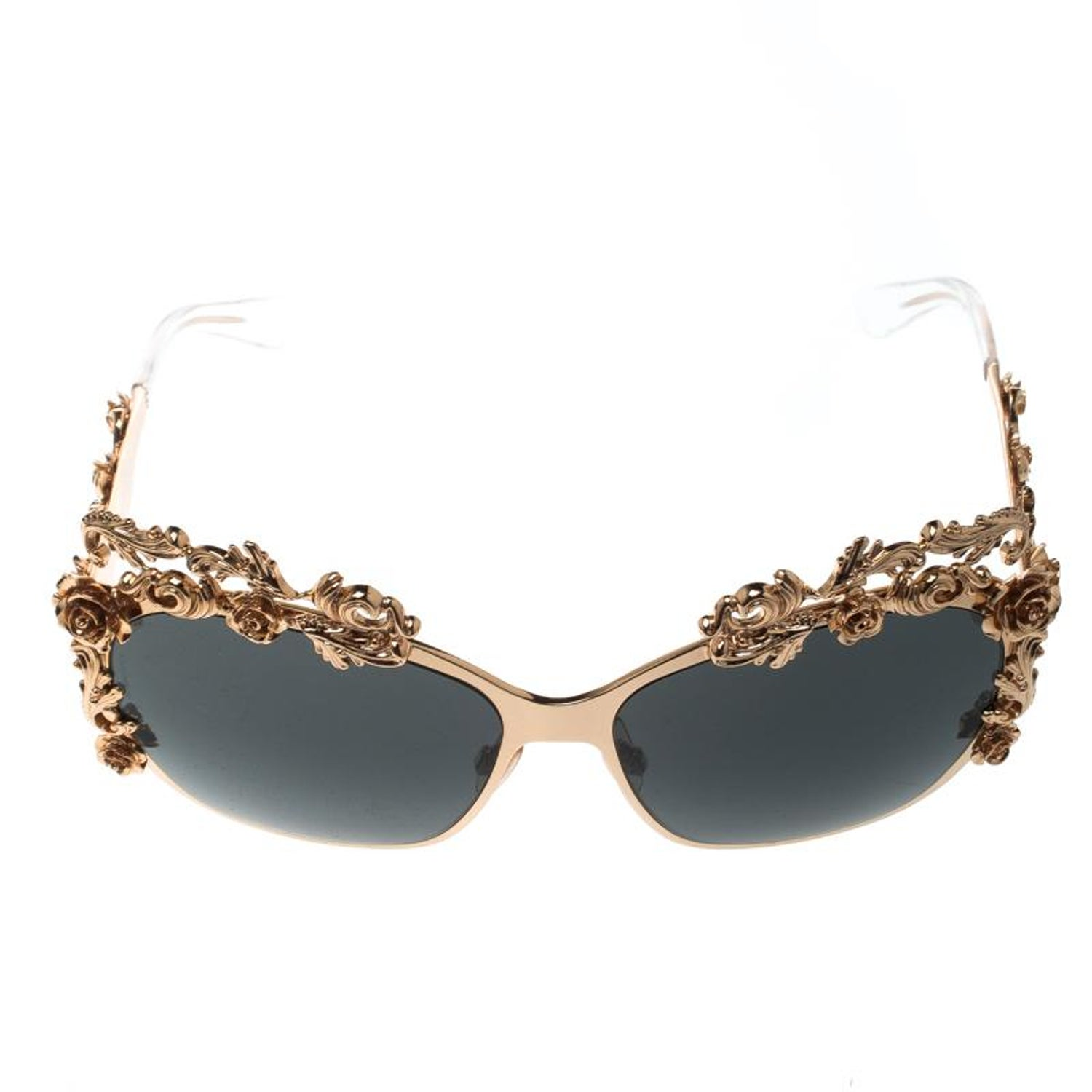 6f33317f1cd8 Dolce and Gabbana Gold Black DG2121 Baroque Butterfly Sunglasses at 1stdibs