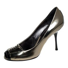 Dolce and Gabbana Gold/Black Patent Leather Peep Toe Pumps Size 40