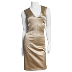 Dolce and Gabbana Gold Bodycon Seamed Dress