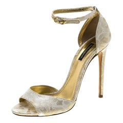 Dolce and Gabbana Gold Brocade Ankle Strap Sandals Size 38.5