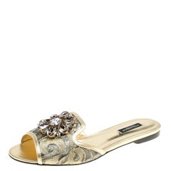 Dolce and Gabbana Gold Brocade Fabric Sofia Crystal Embellished Slides Size 38