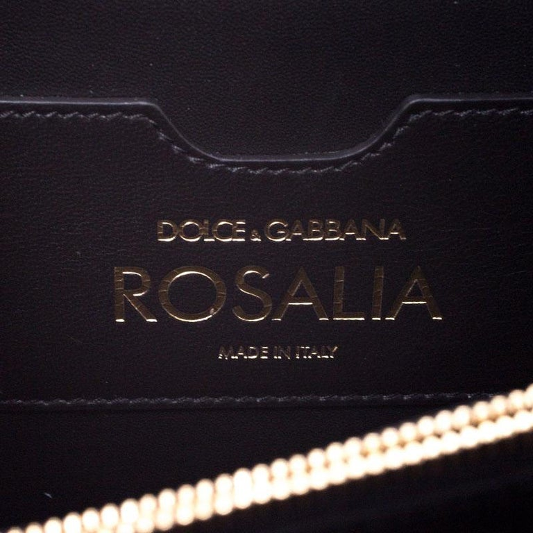 Dolce and Gabbana Gold Embellished Leather Rosalia Shoulder Bag For Sale 7