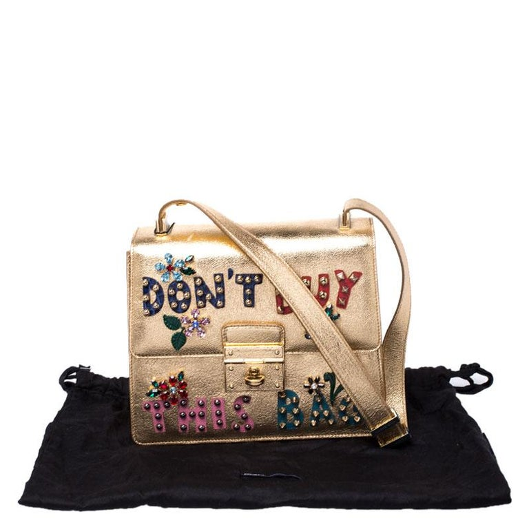 Dolce and Gabbana Gold Embellished Leather Rosalia Shoulder Bag For Sale 8