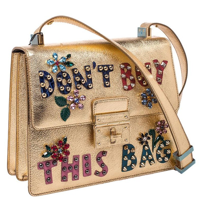 Dolce and Gabbana Gold Embellished Leather Rosalia Shoulder Bag In New Condition For Sale In Dubai, Al Qouz 2