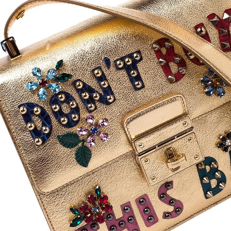 Dolce and Gabbana Gold Embellished Leather Rosalia Shoulder Bag For Sale 3