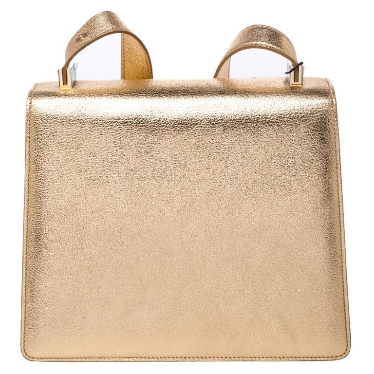 Dolce and Gabbana Gold Embellished Leather Rosalia Shoulder Bag For Sale 4