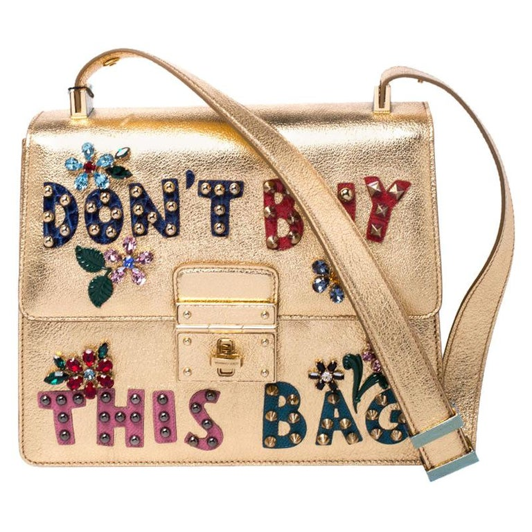 Dolce and Gabbana Gold Embellished Leather Rosalia Shoulder Bag For Sale