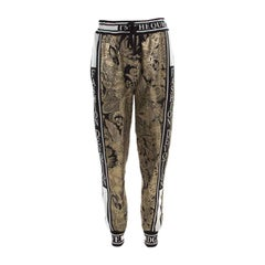 Dolce and Gabbana Gold Floral Brocade Knit Trim Jogger Pants S