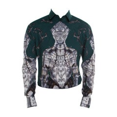 Dolce and Gabbana Gold Green Armour Printed Long Sleeve Shirt L