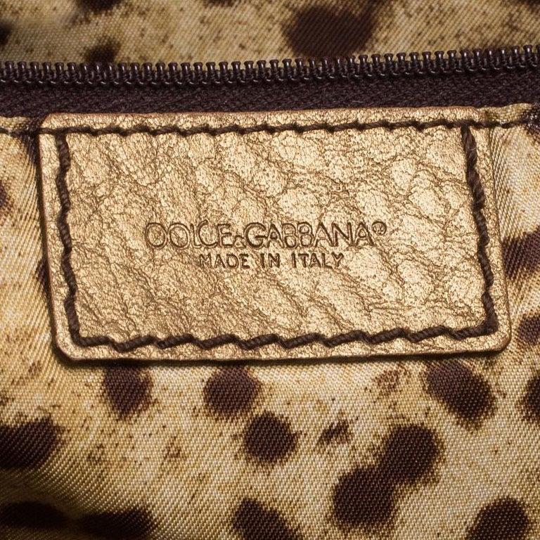 Dolce and Gabbana Gold Leather Shoulder Bag For Sale 6