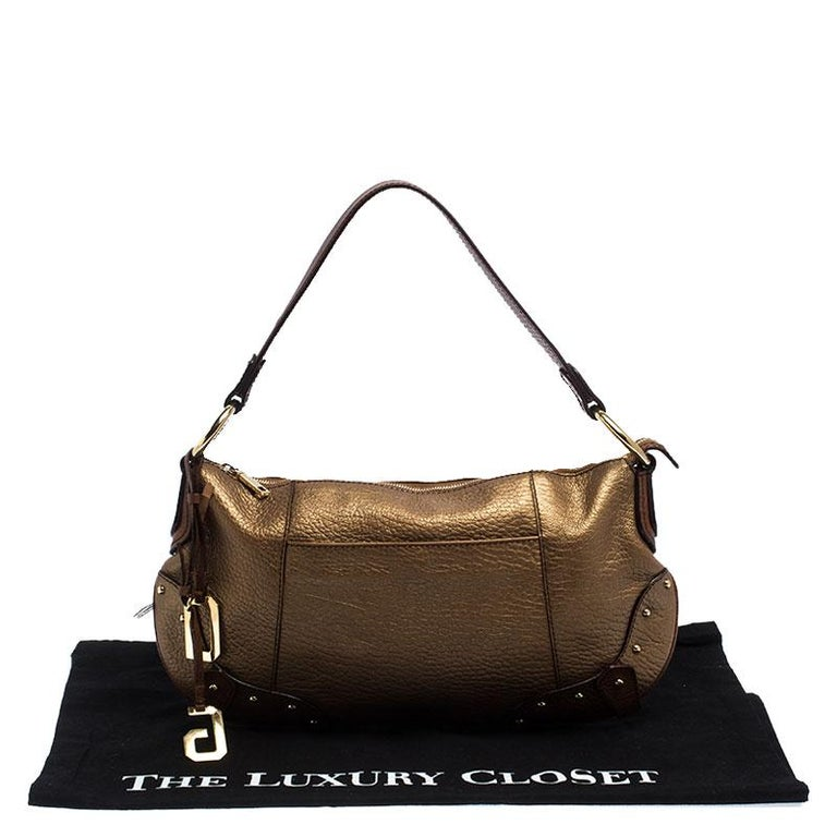 Dolce and Gabbana Gold Leather Shoulder Bag For Sale 7