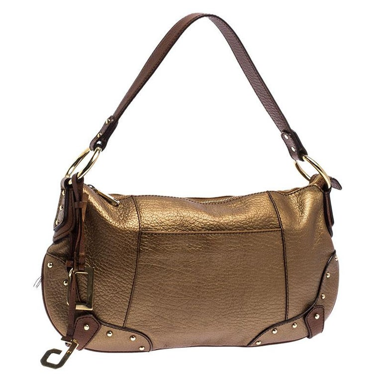 Women's Dolce and Gabbana Gold Leather Shoulder Bag For Sale