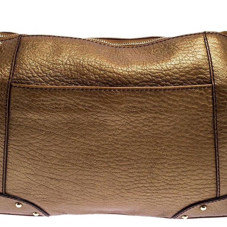 Dolce and Gabbana Gold Leather Shoulder Bag For Sale 1