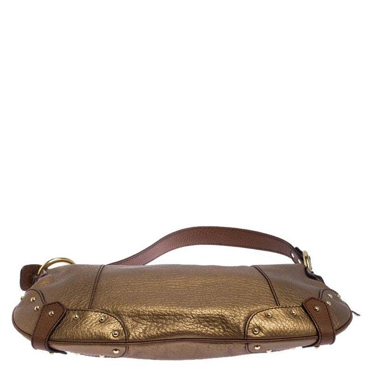 Dolce and Gabbana Gold Leather Shoulder Bag For Sale 2