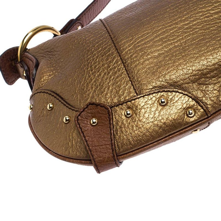 Dolce and Gabbana Gold Leather Shoulder Bag For Sale 3
