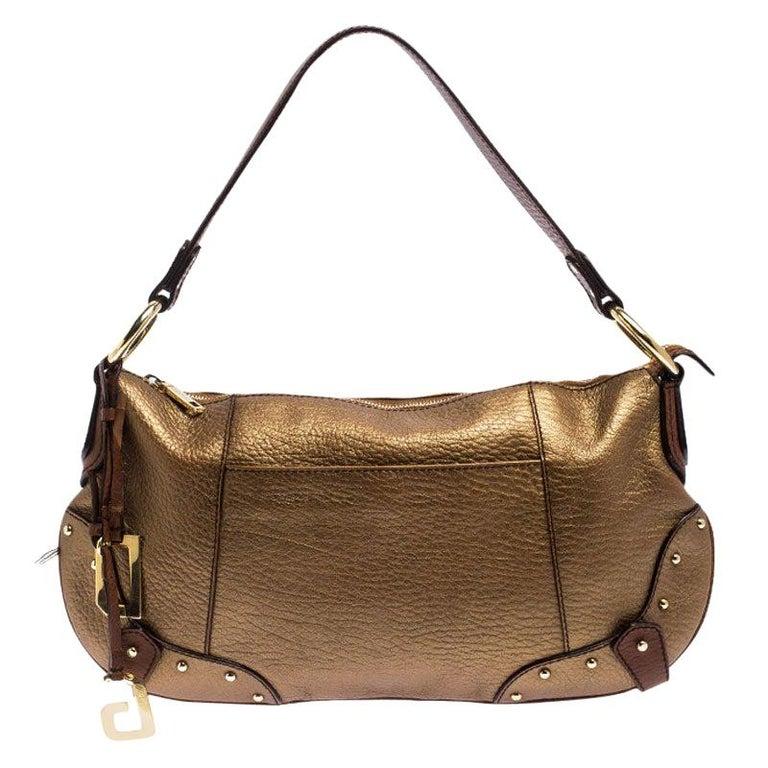 Dolce and Gabbana Gold Leather Shoulder Bag For Sale