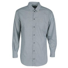 Dolce and Gabbana Gold Monochrome Circle Print Long Sleeve Button Front Shirt XL