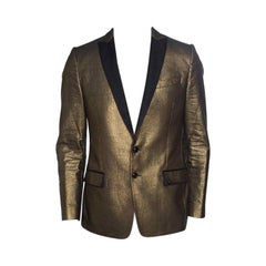 Dolce and Gabbana Gold Textured Contrast Lapel Detail Tailored Blazer L