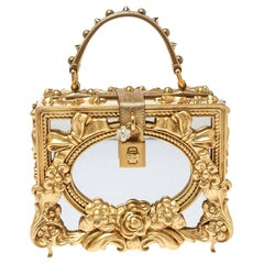 Dolce and Gabbana Gold Wood and Acrylic Leaf Dolce Box Bag