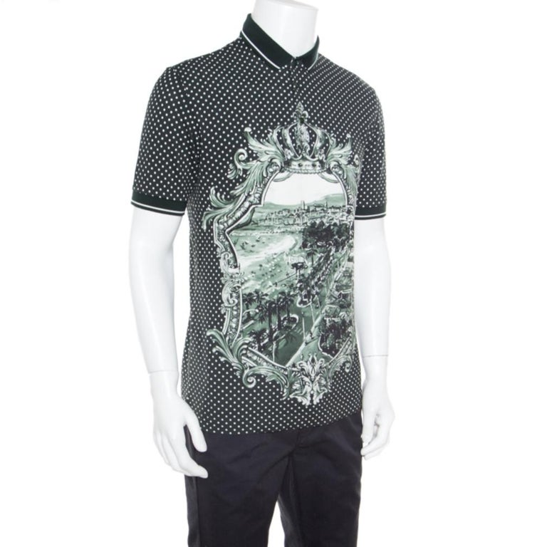 Dolce and Gabbana Green and White Printed Polka Dotted Knit Polo T-Shirt M In Good Condition For Sale In Dubai, Al Qouz 2